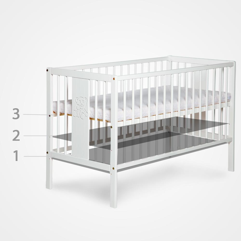 3 poziomy wysokości dna łóżeczka