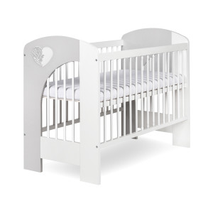 NEL - HEART- white/gray baby cot