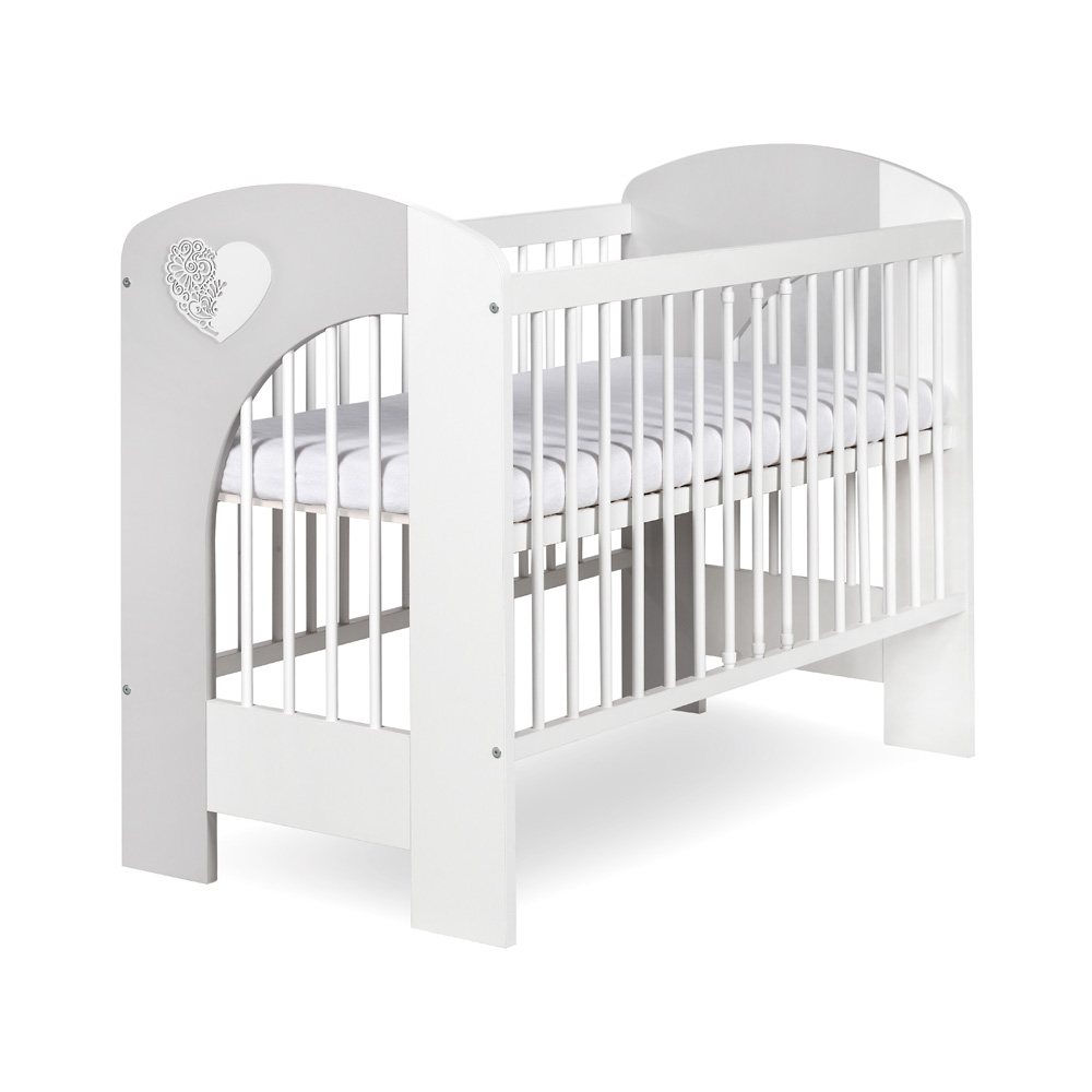 NEL - HEART- white/gray baby cot
